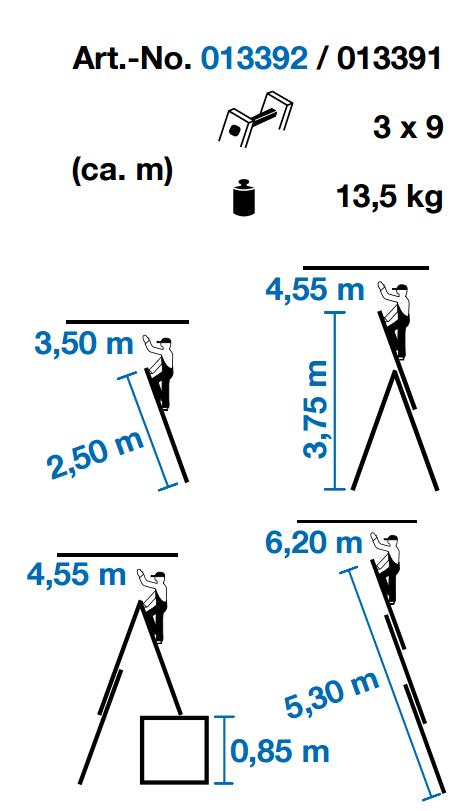 Krause CORDA Alumínium lépcsőfokos sokcélú létra 3x9 fokos