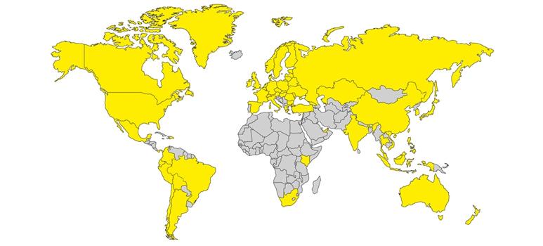 A Karcher jelenlegi helyzete a világtérképen