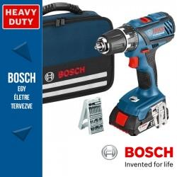 Bosch GSR 18-2-LI Plus Professional Akkus fúró-csavarbehajtó 3 akkuval, bitkészlettel