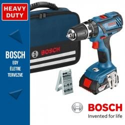 Bosch GSB 18-2-LI Plus Professional Akkus ütvefúró-csavarbehajtó 3 akkuval, bitkészlettel