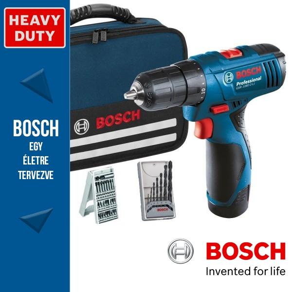 52e00c811caf Bosch GSR 1080-2-LI Professional Akkus fúró-csavarbehajtó tartozékokkal