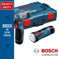 Bosch GSR 10,8-2-LI Professional Akkus fúró-csavarbehajtó, GLI PowerLED lámpával