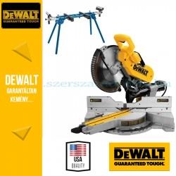 DeWalt DWS780-QS Két oldalra dönthető, kihúzható vágófejes gérfűrész + Gérvágó állvány
