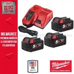 Milwaukee Akkumulátor szett 3db 5.0Ah 18V RED Lithium-ion akkumulátor + 1 db Töltő