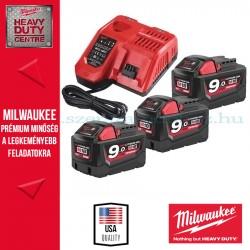 Milwaukee Akkumulátor szett 3db 9.0Ah 18V RED Lithium-ion akkumulátor + 1 db Töltő