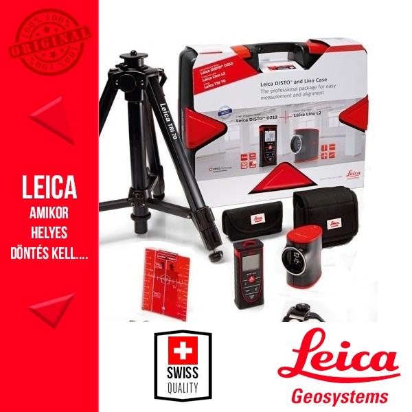 Leica Disto D210 távolságmérő + Lino L2 vonallézer + TRI70 állvány