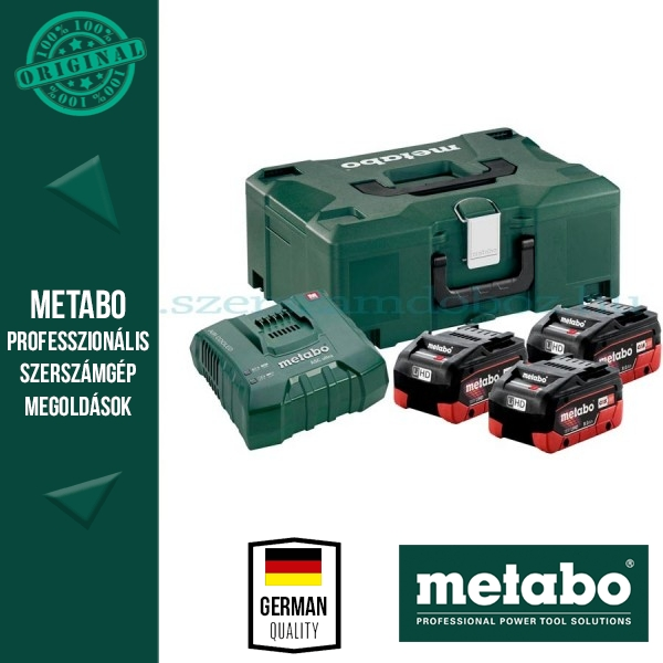 METABO Alapkészlet 3 db 8,0 Ah LiHD akku + ASC Ultra töltő, Metaloc koffer