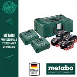 METABO Alapkészlet 4 db 8,0 Ah LiHD akku + 2db  ASC Ultra töltő, Metaloc koffer