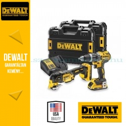 DEWALT DCK208D2T-QW COMBO KIT DCD796 Li-Ion kefe nélküli kompakt ütvefúró-csavarozó + DCS355 kefe nélküli rezgőfunkciós Multi-To
