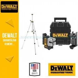 DEWALT DW089KTRI-XJ önbeálló 3 keresztszálas vonallézer (Vízszintes,Függőleges,Oldalvonalak) DE0881 állvánnyal