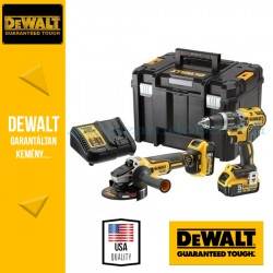 DEWALT DCK2080P2T-QW Combo KIT (DCD796 kefe nélküli kompakt ütvefúró-csavarozó + DCG405 125MM kefe nélküli sarokcsiszoló)
