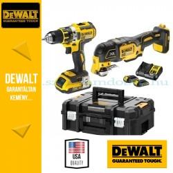 DEWALT DCK2041S2T-QW 18V XR Combo KIT (DCD790 kefe-nélküli fúró-csavarozó + DCS355 kefe nélküli rezgőfunkciós Multi-Tool)