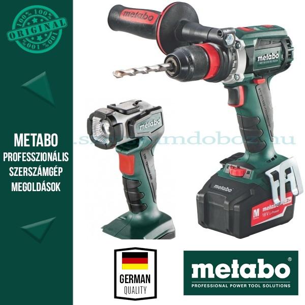 Metabo BS 18 LTX Quick Fúró-csavarozó + ULA 14,4-18V LED lámpa