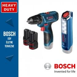 Bosch GSR 120-LI Professional akkus fúrócsavarozó + Bosch GLI 12V-300 lámpa