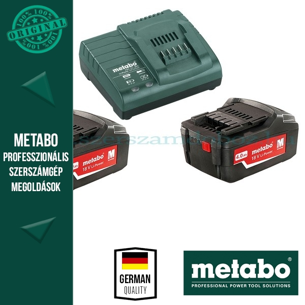 Metabo 685050000 Basic Akkumulátor szett 2db 4,0Ah 18V akku Li + 1 db ASC 30-36 Töltő