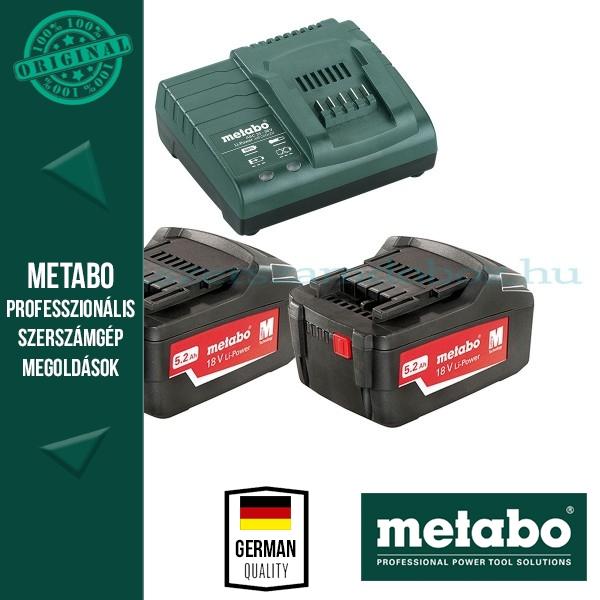 Metabo 685051000 Basic Akkumulátor szett 2db 5,2Ah 18V akku Li + 1 db ASC 30-36 Töltő