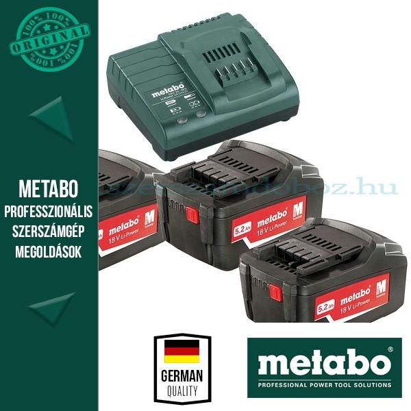 Metabo 685048000 Basic Akkumulátor szett 3db 5,2Ah 18V akku Li + 1 db ASC 30-36 Töltő