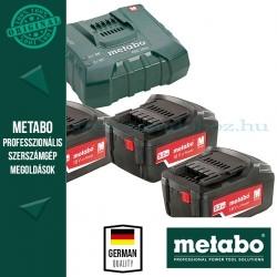Metabo 685061000 Basic Akkumulátor szett 3db 5,2Ah 18V akku Li + 1 db ASC 14,4-36 ULTRA Szupergyors Töltő