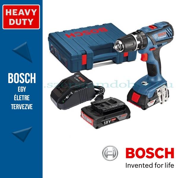 Bosch GSB 18-2-LI Plus akkus ütvefúró-csavarozó +AJÁNDÉK Fittnes karóra