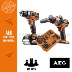 AEG 4935BAT192 18V akkus erőcsomag (Fúró-csavarbehajtó + Ütvecsavarozó + 75 db-os fúró-csavarozó szett)