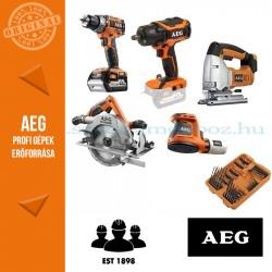 AEG 4935BAT196 18V 5 gépes akkus erőcsomag + 75 db-os fúró-csavarozó szett