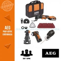 AEG 4935OMNI18 18V multifunkciós gép csomag (Multifunkciós gép + Szablyafűrész fej + Sarokfúró-csavarozó fej + Racsnis csavarkul