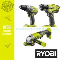 Ryobi akkus Erőcsomag R100 (fúrógép+sarokcsiszoló+ütvecsavarozó)