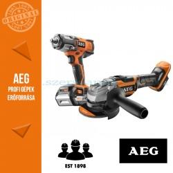 AEG 18V akkus erőcsomag (ütvecsavarbehajtó + 125mm sarokcsiszoló)