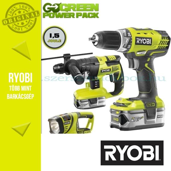 Ryobi GreenPowerPack 18V 4,0Ah akkus fúrókalapács+fúró-csavarbehajtó+lámpa