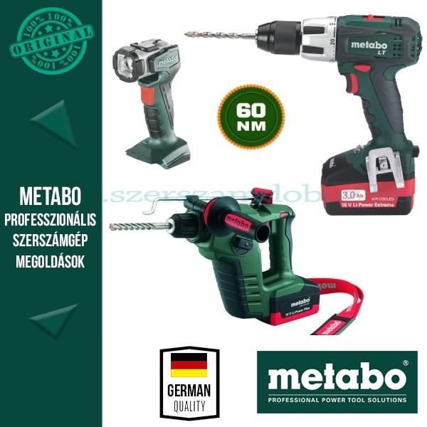 Metabo ComboSet 18V akkus fúrókalapács + fúró-csavarbehajtó+ lámpa