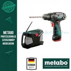 Metabo PowerMaxx akkus ütvefúró-csavarbehajtó + akkus építkezési rádió