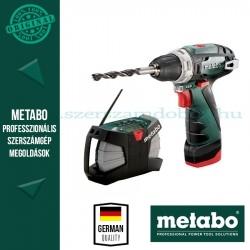 Metabo akkus gépcsomag (PowerMaxx BS Basic fúrócsavarozó + PowerMaxx RC építkezési rádió)