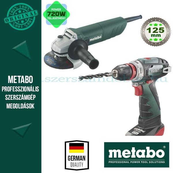 Metabo akkus fúrócsavarozó PowerMaxx BS Quick Pro + W720 sarokcsiszoló
