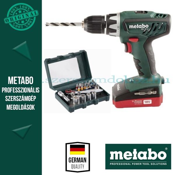 Metabo BS 18 Li Akkus fúrócsavarbehajtó + Bitkészlet 26db-os