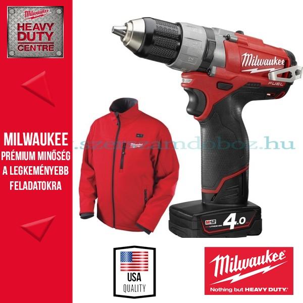 Milwaukee M12 HRJSZETT1 M fűthető kabát + kétsebességes ütvefúró-csavarozó