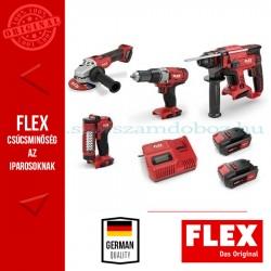 Flex akkus erőcsomag (L 125 18.0 sarokcsiszoló + CHE 18.0 fúrókalapács +  DD 2G 18.0 fúró-csavarozó + WL LED 18.0 munkalámpa)