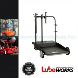 Lube Works Hordó szállító kocsi csévélődob tartóval, 180-220kg