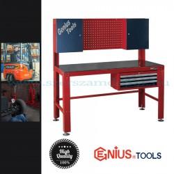 Genius Tools Multifunkciós munka és satupad, 2 zárható faliszekrénnyel és 3 görgős fiókkal