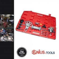 Genius Tools Univerzális csapágy és kerékagy lehúzó készlet csúszókalapáccsal, 13 darabos