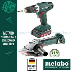 Metabo 18 V SZETT BS 18 Li + W 18 LTX 125 Quick  + AJÁNDÉK 4,0 Ah akku