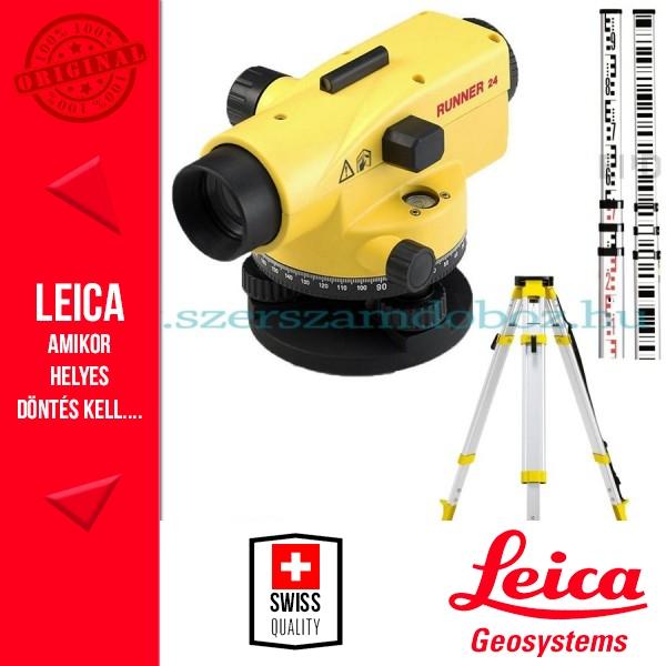 Leica Runner 24 optikai szintezőműszer állvánnyal - mérőléccel