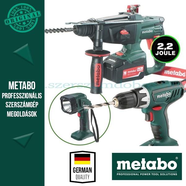 Metabo Akkus csomag- Kombikalapács+Fúró-csavarbehajtó+Lámpa