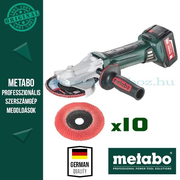 Metabo WF 18 LTX 125 Quick Akkus laposfejű sarokcsiszoló + 10 db Flexiamant Super Convex csiszolótárcsa