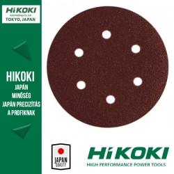 Hikoki (Hitachi) 6lyukú tépőzáras csiszolópapír (excentercsiszolókhoz) - Ø150 / K100 - 10db/csomag