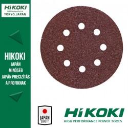 Hikoki (Hitachi) 8lyukú tépőzáras csiszolópapír (excentercsiszolókhoz) - Ø125 / K120 - 10db/csomag