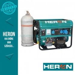 HERON benzin-gáz motoros áramfejlesztő, max 6800/5500 VA, egyfázisú (EGM-68/55 AVR-1EG), önindítós