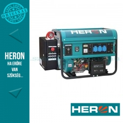 HERON benzinmotoros áramfejlesztő inditó automatikával GSM modullal (HAE-3/1 GSM), max 5500 VA, egyfázisú, (EGM-55 AVR-1E)