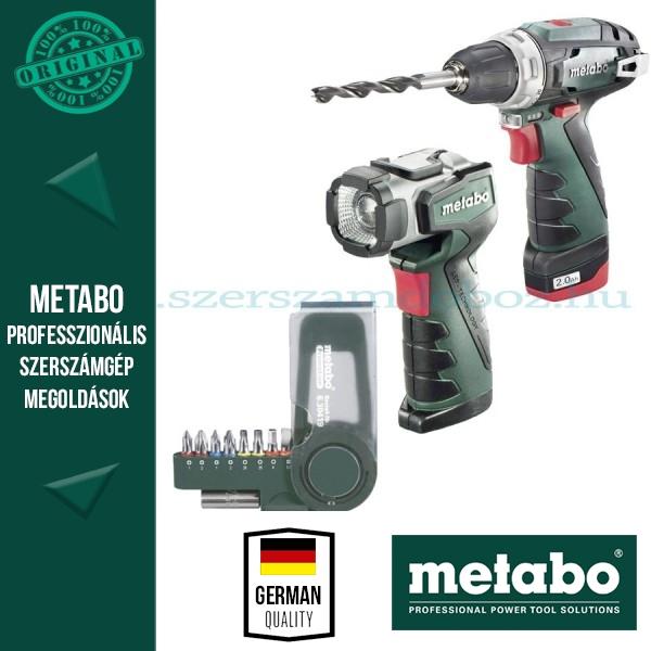 Metabo PowerMaxx BS Basic Akkus fúró-csavarozó + PowerMaxx ULA LED + 9 részes bit készlet SP