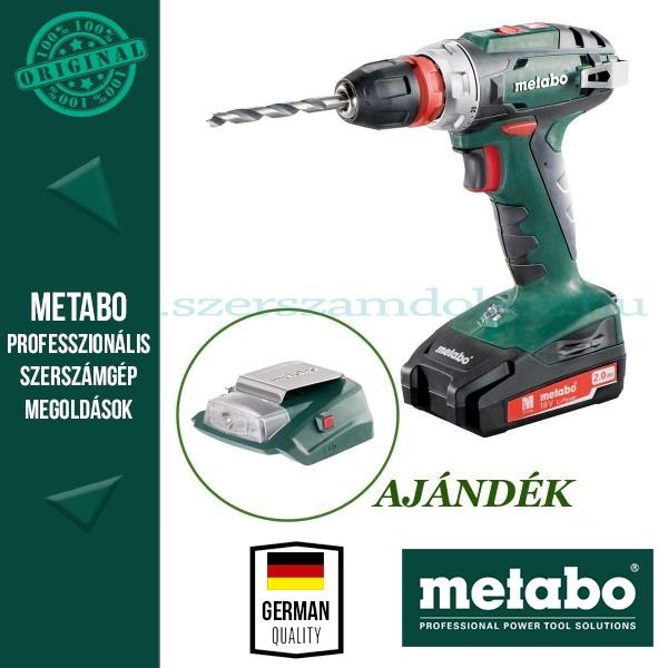 Metabo BS 18 Quick Akkus fúrócsavarbehajtó + AJÁNDÉK PA 14,4-18 LED-USB adapter
