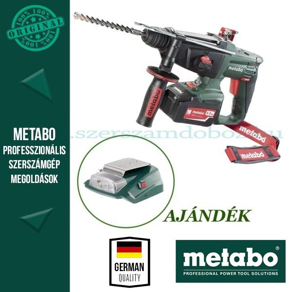 Metabo KHA 18 LTX Akkus fúrókalapács + AJÁNDÉK PA 14,4-18 LED-USB adapter
